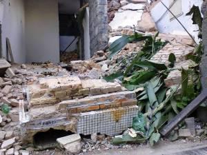 Detalhe do bloco que caiu sobre Etelvina.