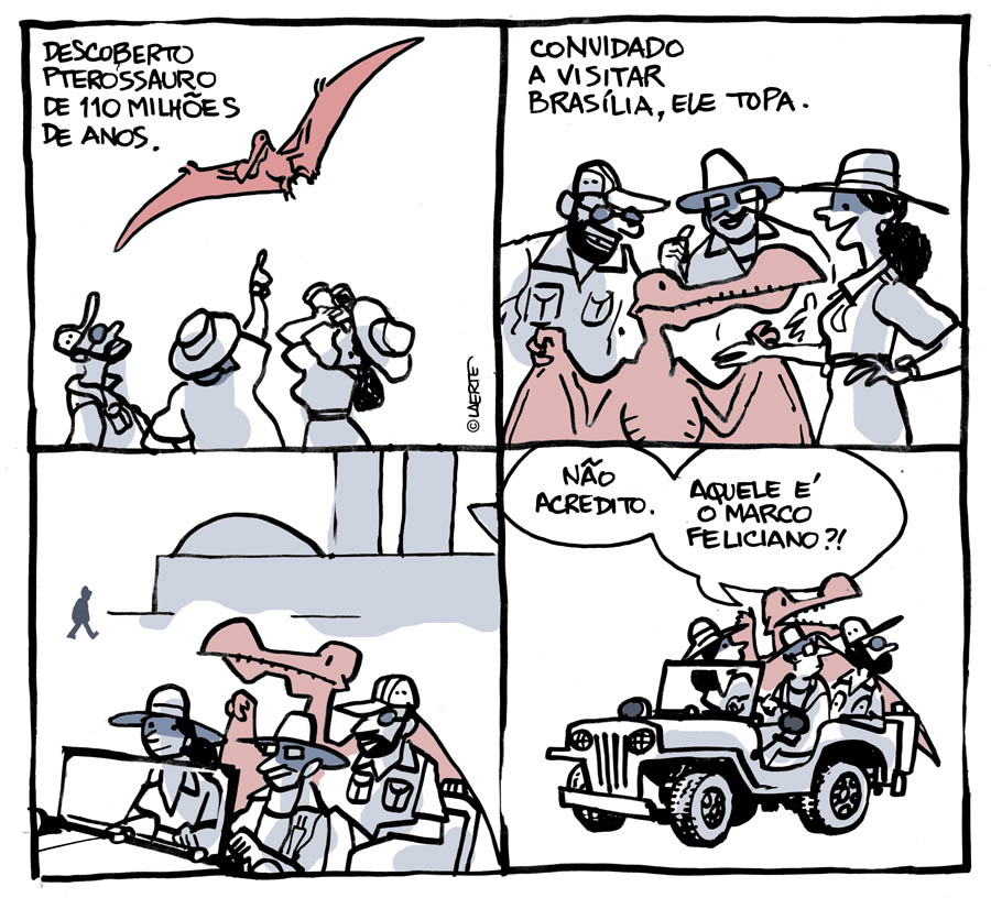 """Desenho do gênio Laerte, na """"Folha"""" de hoje. E isso é só o que vou falar sobre essa Comissão de Direitos Humanos aqui no blog, porque o pastor Feliciano (quem mesmo?) está gostando demais dos holofotes que vem recebendo nos últimos dias."""
