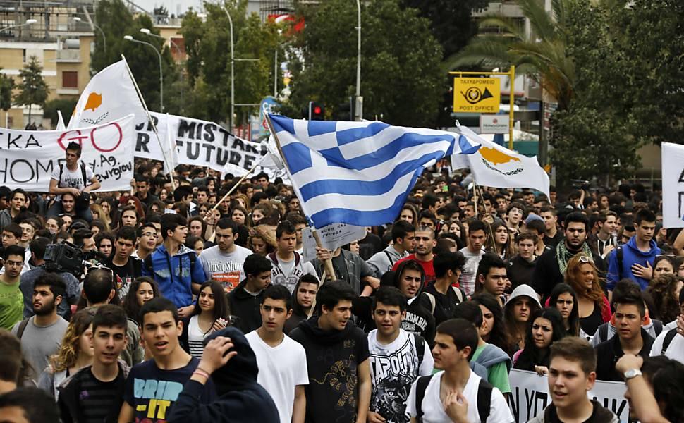 Protestos contra políticas de austeridade no Chipre em 26/3/2013. Foto: Yannis Behrakis/Reuters