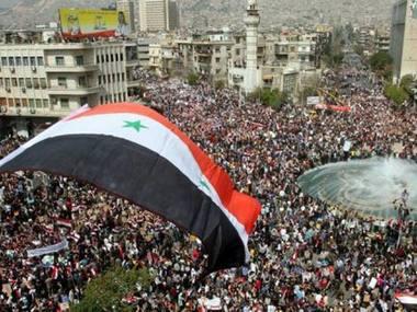 Um dos vários protestos na Síria.