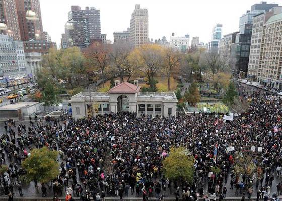 Mais um protesto em Nova York, em 18/11/2011. Foto: EFE.