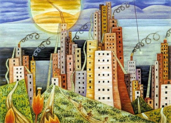 """""""Ciudad Lagui"""", tela de Xul Solar."""
