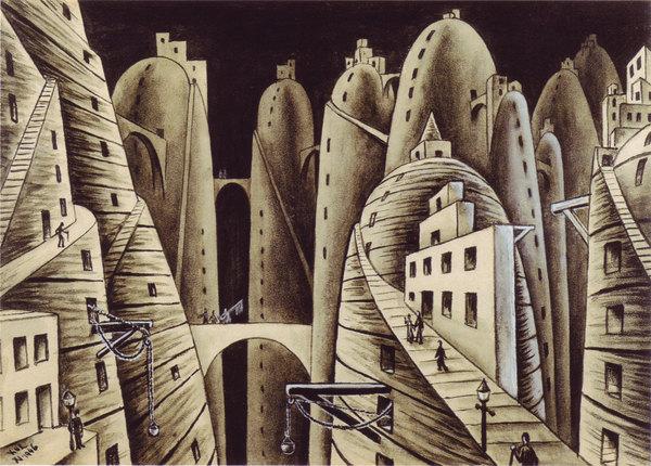 """""""Ciudad y Abismos"""", tela de Xul Solar."""