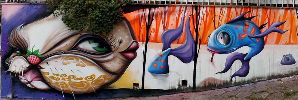 Grafite de Davi de Melo Santos e André Dalata. Do Flickr de Davi, enviado por ele ao blog: http://www.flickr.com/photos/demelosantos.