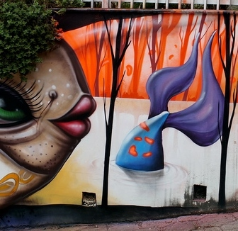 Grafite de Davi de Melo Santos e André Dalata, na rua Gonçalves Dias, perto da Praça da Liberdade, no muro da UNA. Do Flickr de Davi, enviado por ele ao blog: http://www.flickr.com/photos/demelosantos