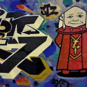Grafite do MTS, na rua Tomé de Souza, na Savassi. Fotografado por CMC em agosto de 2013