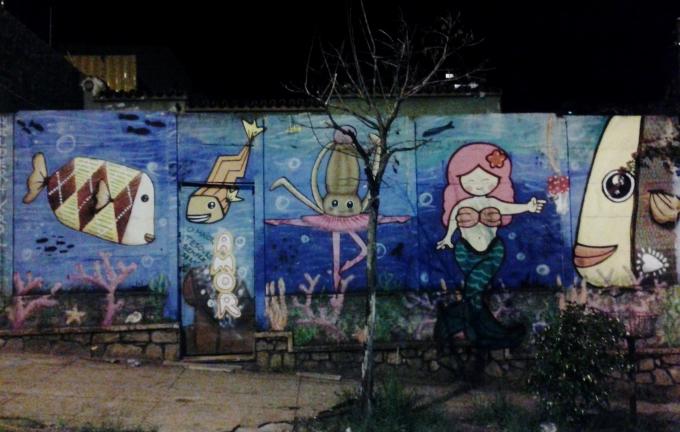 Grafite na rua Palmira, na Serra.