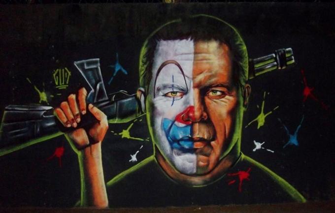 Grafite de Marcelo Gud, na rua do Ouro, na Serra.