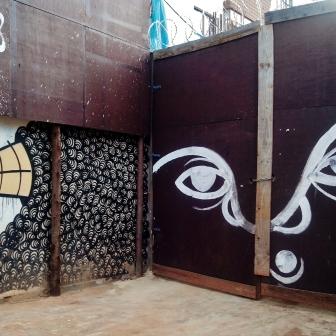 Grafite do Baba Jung na rua do Ouro, bairro Serra, em foto de CMC tirada em 12/12/2014