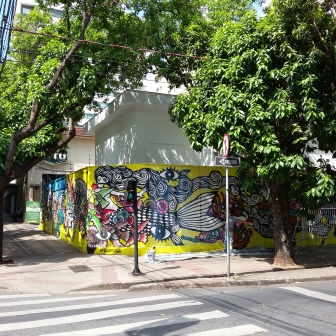Grafite de Rogério Fernandes, na Rio Grande do Norte com Cláudio Manoel (Savassi), concluído nesta quarta, dia 19/10/2016. Hoje ele estava recebendo verniz, para proteção. Foto: CMC em 20.10.2016