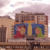 Grafite do Cura (Circuito Urbano de Arte), visto do mirante na rua Sapucaí, em foto de CMC no dia 2.8.2017.