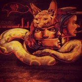 Grafite no bar A Obra, na rua Rio Grande do Norte, 1.168, Funcionários. Fotografado por Guilherme Ávila e publicado originalmente em outubro/2013 em seu Instagram: http://instagram.com/guilherme_avila