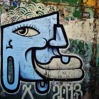 Grafite de Thiago Alvim em rua próxima à avenida Bandeirantes, Mangabeiras. Fotografado por CMC em 7.4.2014