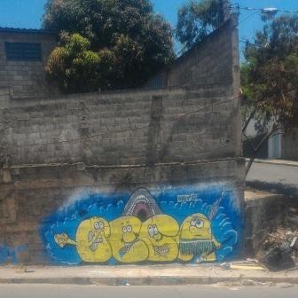 Grafite na BR-020, bairro Novo Aarão Reis, zona norte de BH. Foto de Carlos Atleticano enviada em 31.10.2017.