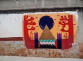 Grafite de Clara Valente em rua aberta recentemente, a partir da rua Monte Alegre, ainda sem nome, no Serra. Fotografado por CMC em 13.4.2014.