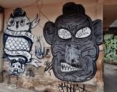 Grafites de PA e KILLA (Calle Crew), na Vila Ponta Porã, na rua Ponta Porã, Santa Efigênia, região leste da cidade. Fotografado por CMC em 14.4.2014.