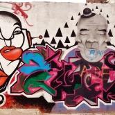 Segunda metade de muro com grafites de Testa, Karol, Ramar, Coral e Sro, no bairro Serra. Foto tirada por CMC em 9.5.2014.