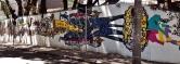 Trabalho do artista plástico Rogério Fernandes no muro da escola Theodor Herzl, na rua Caraça, número 15, Serra, Centro-Sul de BH. Foto tirada por CMC em 4.10.2014