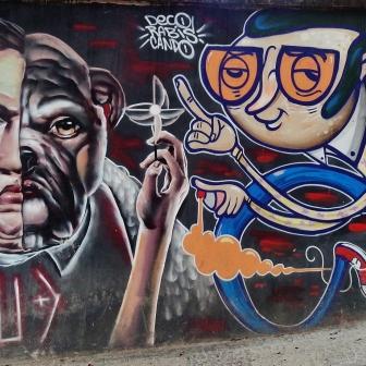 Grafites de Gud (esquerda) e Deco na rua dos Inconfidentes com Afonso Pena. Foto tirada por CMC em 20.11.2014