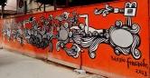 Arte de Rogério Fernandes na rua dos Otoni com Grão Pará, no Santa Efigênia, Leste de BH. Foto tirada por CMC em 9.12.2014