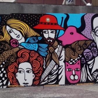 Arte de Rogério Fernandes (pronta) no muro do prédio da Rede Minas, na av. Nossa Senhoa do Carmo, Sion. Foto de CMC em 04/01/2015