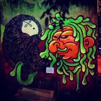 Grafite de Lelo (SP) e Lucas, no Pão de Queijo da Roça, na Guajajaras, 739, Centro. Fotografado por Guilherme Ávila e publicado originalmente em fevereiro/2014 em seu Instagram: http://instagram.com/guilherme_avila