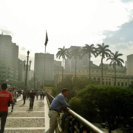 Viaduto do Chá. Ao fundo, o Teatro Municipal.