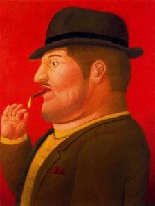 """Quadro do colombiano Fernando Botero (1932-), famoso por pintar e esculpir figuras rotundas como este simpático """"fumador"""""""