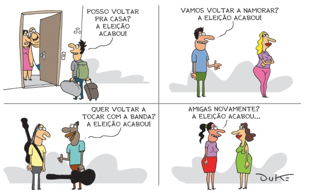 """Charge do Duke, publicada no jornal """"O Tempo"""" de 27.10.2014"""
