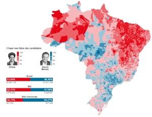 Fonte: Folha de S.Paulo. Clique para ver o mapa interativo: http://www1.folha.uol.com.br/infograficos/2014/10/117563-a-votacao-por-municipios-de-todo-o-brasil.shtml