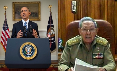 Obama e Raul Castro fizeram anúncio simultaneamente. Fotos: AFP