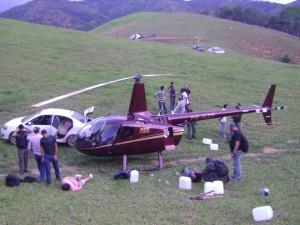 O helicóptero foi apreendido com 443 quilos de cocaína em novembro de 2013. Foto: Divulgação/PF