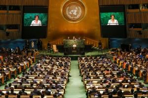 Dilma discursando na Assembleia Geral da ONU, em setembro de 2015. Foto: Roberto Stuckert Filho/PR