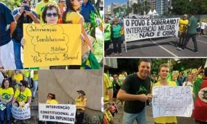 Alguns sem-noção que apareceram nos protestos pró-impeachment, com destaque para a do canto inferior esquerdo. Fotos: Reprodução / Twitter