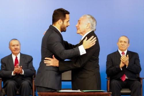 Cerimônia de posse de Marcelo Calero como Ministro da Cultura, em maio de 2016. Foto: Beto Barata/PR