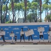 Grafite na galeria a céu aberto durante reforma da Praça da Liberdade. Foto de CMC tirada em 08.9.2018