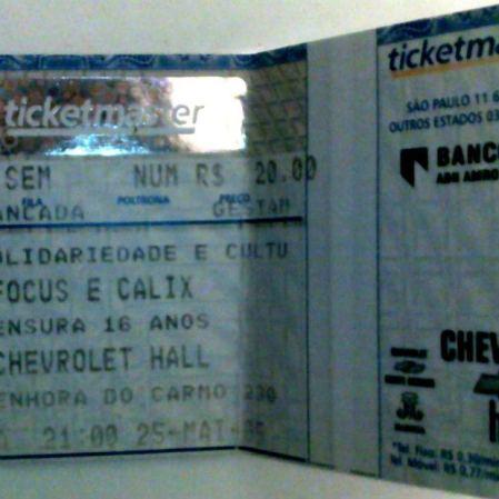 Calix abrindo pra ótima banda de rock progressivo holandesa Focus, dos anos 70. Chevrolet Hall, Belo Horizonte, maio de 2005. (R$ 20)