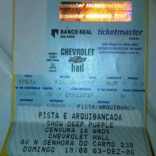 """Meu segundo show do Deep Purple, turnê de """"Rapture of the Deep"""", em dezembro de 2006, no Chevrolet Hall, em Belo Horizonte. (R$ 45)"""